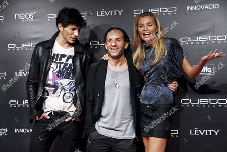Catalonian Fashion Designer Custo Barcelona (c) Presented His Spring-summer 2009 Ready-to-wear Collection with Participation of Spanish Top-models; Esther Canadas (r) and Andres Velencoso (l) at Seu Vella Cathedral in Lleida Catalonia 02 October 2008 Spain Lleida