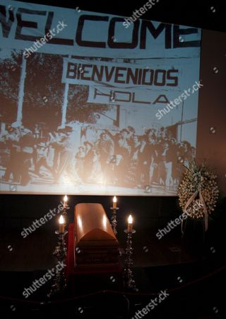 A Coffin Containing the Remains of Spanish Film Director and Screewriter Luis Garcia Berlanga is on Display in a Funeral Chapel Set Up at the Madrid Film Academy Under a Projected Image of Scenes From His 1952 Film 'íbienvenido Mister Marshall!' (welcome Mr Marshall!) in Madrid Spain on 13 November 2010 Berlanga Honorary President and Co-founder of the Academy Died on 13 November 2010 at His Home in Madrid at the Age of 89 His Most Internationaly Acclaimed Works Included 'Welcome Mr Marshall!' 'The Executioner' and 'Placido' He was Awarded the Prince of Asturias Prize in 1986 Spain Madrid