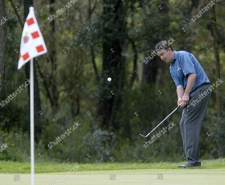 Irish Golfer Peter Lawrie Makes an Approach Shot During the 83th Spanish Open in Caldes De Malavella Girona North-eastern Spain 03 May 2009 French Golfer Thomas Levet Won the Competition Lawrie Finished in Third Position Spain Girona
