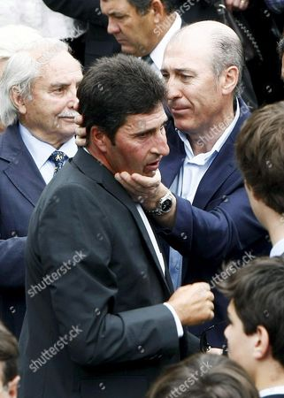 European 2012 Ryder Cup Captain Spanish Golfer Jose Maria Olazabal (c) Leaves San Pedro Parish After the Small Funeral Service Celebrated in His Hometown of Pedrena in the Region of Cantabria Northern Spain 11 May 2011 the 54-year-old Golf Legend Died on 07 May 2011 After a Long Battle Against a Brain Tumour Spain Pedrena