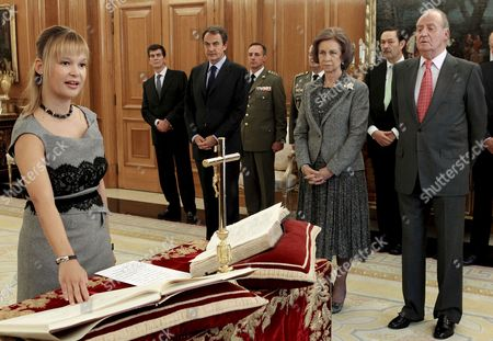 Spain's King Juan Carlos (r) His Wife Queen Sofia (2-r) and Spain's Prime Minister Jose Luis Rodriguez Zapatero (3-r) Attend As New Health Minister Leire Pajin (l) Swear Her Post During the Formal Investiture Ceremony (where the Authority of the Office is Conferred) Held at La Zarzuela Palace in Madrid Central Spain 21 October 2010 Jose Luis Rodriguez Zapatero Has Carried out an Extensive Government Reshuffle Spain Madrid
