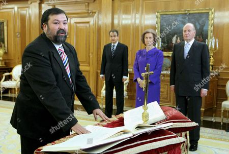 Francisco Caamano Dominguez (l) Takes Oath As New Spanish Justice Minister in the Presence of Spanish Prime Minister Jose Luis Rodriguez Zapatero (2-l) and Spain's Royal Couple Queen Sofia (2-r) and King Juan Carlos i (r) at La Zarzuela Palace in Madrid Spain 24 February 2009 Caamano who was Secretary of State For Constitutional and Parlamentary Affairs Replaces Mariano Fernandez Bermejo As New Justice Minister After He Announced His Resignation on 23 February 2009 Spain Madrid