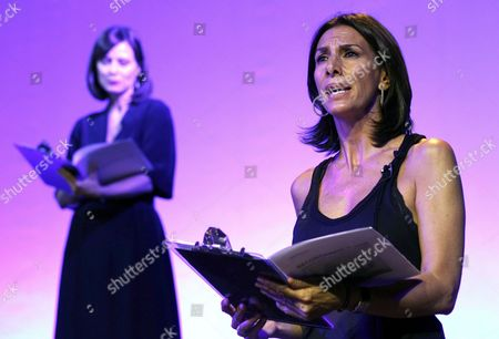 Spanish Actresses Pastora Vega (r) and Aitana Sanchez-gijon Read Writings by Late Portuguese Writer Jose Saramago During an Event to Mark the First Anniversary of Saramago's Death at the Cultural Centre Casa De America in Madrid Spain 14 June 2011 Spain Madrid