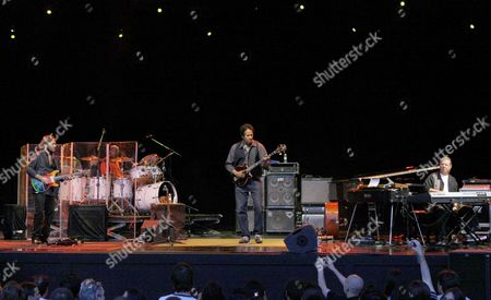 Stock Photo of Us Jazz-rock Band Return to Forever with (l-r) Guitar Player Al Di Meola Drummer Lenny White Bassist Stanley Clarke and Pianist Chick Corea Perform at the Conde Duque Cultural Center in Downtown Madrid Spain 10 July 2008 S Spain Madrid