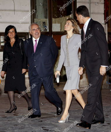 Spanish Crown Prince Felipe (r) and His Wife Letizia (2-r) Walk Next to Asturias President Vicente Alvarez Areces After They Arrived to Oviedo Northern Spain 22 October 2008 Next 24 October the Prince of Asturias Award Ceremony Will Be Held at the Campoamor Theatre in Oviedo Spain Oviedo