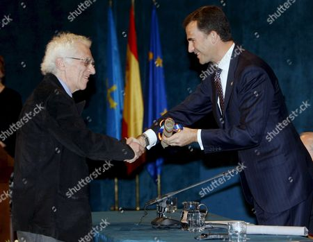 Bulgarian-french Philologist and Semiologist Tzvetan Todorov (l) is Congratulated by Spanish Crown Prince Felipe After Being Awarded with the Prince of Asturias Prize For the Social Sciences at the 'Campoamor' Theatre in Oviedo City Northern Spain 24 October 2008 the Prince of Asturias Awards Intend From Its First Edition in 1981 to Acknowledge Scientific Technical Cultural Social and Humanitarian Work Carried out Internationally by Individuals Groups Or Organisations in the Following Eight Categories: Communication and Humanities Social Sciences Arts Letters Scientific and Technical Research International Cooperation Concord and Sports Spain Oviedo