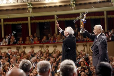 Hungarian Sociologist Zygmunt Bauman (r) and French Sociologist Alain Touraine (l) Onstage After Receiving the Prince of Asturias Prize 2010 For Communications and Hummanities During the Prince of Asturias Awards Ceremony in Oviedo Spain 22 October 2010 Spain Oviedo