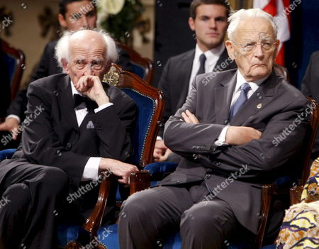 Hungarian Sociologist Zygmunt Bauman (l) and French Sociologist Alain Touraine (r) Sit Prior to Receiving the Prince of Asturias Prize 2010 For Communications and Hummanities During the Prince of Asturias Awards Ceremony in Oviedo Spain 22 October 2010 Spain Oviedo
