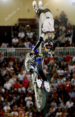 Australian Rider Robbie Maddison Makes an Aerobatics During Red Bull X-fighters at Madrid?s Las Ventas Arena Spain 17 July 2008 Spain Madrid