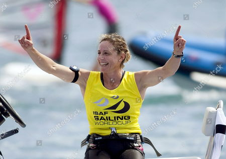 Italian Rs:xm Class Sailor Alessandra Sensini Celebrates Her Victory on the Sixth Day of the Princesa Sofia Trophy Held at the Bay of Palma in the Balearic Islands on 02 April 2010 Spain Palma (mallorca)