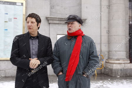 Canadian Stage Manager Robert Lepage (l) and British Conductor Christopher Hogwood Pose For Photographers in Front of the Royal Theatre of Madrid Spain 09 January 2009 During the Presentation of the Stravinsky Opera 'The Rake's Progress' a New Joint Production with the Theatres La Monnaie in Bruselas Lyon San Francisco and the Covent Garden in London Spain Madrid