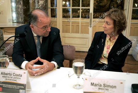 Uruguayan Education Minister Maria Simon (r) Talks with Portugal Justice Minister Alberto Costa (l) During a Meeting in Which They Signed an Understanding Memoradadum at the Taranco Palace in Montevideo Uruguay 19 November 2008 Uruguay Montevideo