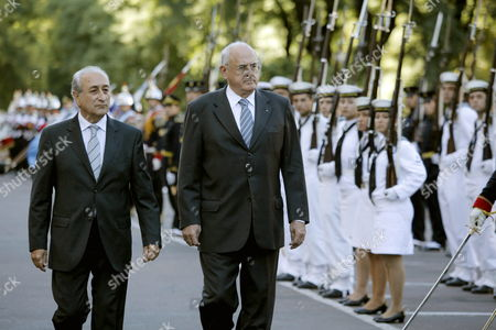 Argentinian Minister of Defense Arturo Puricelli (l) and His Brazilian Counterpart Nelson Jobim (r) Inspect the Troops at Libertador Building Headquarters of Argentinian Ministry of Defense in Buenos Aires Argentina 14 February 2011 Argentina Buenos Aires