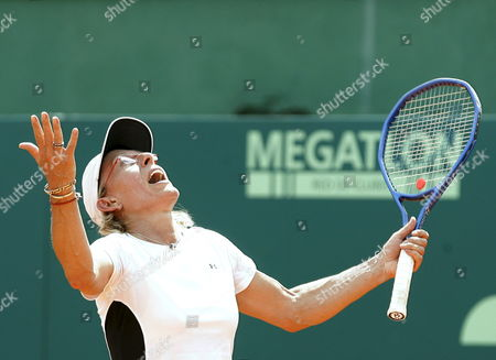 Czech-born Us Tennis Legend Martina Navratilova Reacts During a Benefit Double Match with Gabriela Sabatini From Argentina Against Former Argentinian Tennis Players Patricia Tarabini and Paola Suarez by Argentinian Miastenia Gravis Sick Foundation at Lawn Tennis Club in Buenos Aires Argentina on 14 March 2009 Argentina Buenos Aires