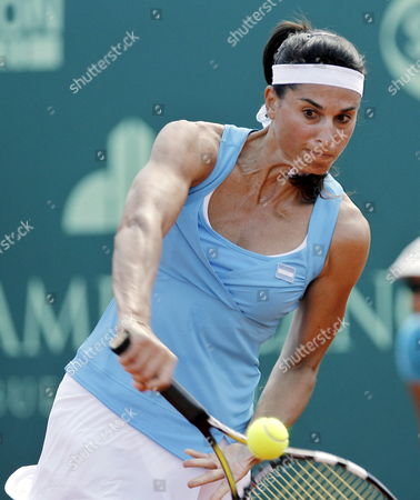 Former Tennis Player Gabriela Sabatini From Argentina Returns a Shot to Czech-born Us Tennis Legend Martina Navratilova During a Benefit Match by Argentinean Miastenia Gravis Sick Foundation at Lawn Tennis Club in Buenos Aires Argentina on 14 March 2009 Argentina Buenos Aires