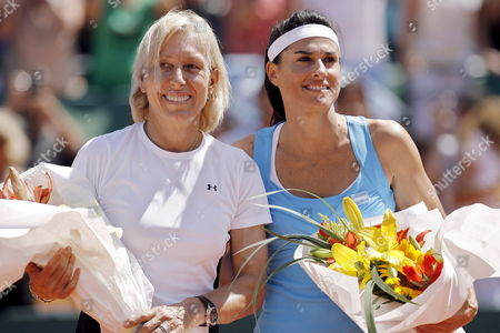 Former Tennis Players Gabriela Sabatini (r) From Argentina and Czech-born Us Tennis Legend Martina Navratilova (l) Pose For Photographers During a Benefit Match by Argentinian Miastenia Gravis Sick Foundation at Lawn Tennis Club in Buenos Aires Argentina on 14 March 2009 Argentina Buenos Aires