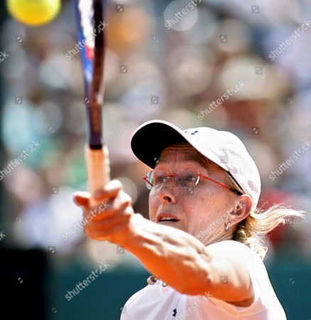Czech-born Us Tennis Legend Martina Navratilova Returns a Shot During a Benefit Double Match with Gabriela Sabatini From Argentina Against Former Argentinian Tennis Players Patricia Tarabini and Paola Suarez by Argentinian Miastenia Gravis Sick Foundation at Lawn Tennis Club in Buenos Aires Argentina on 14 March 2009 Argentina Buenos Aires