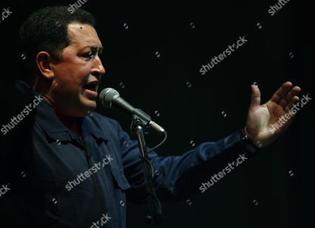 Venezuelan President Hugo Chavez Delivers a Speech After Receiving the Rodolfo Walsh Prize From La Plata National University in Buenos Aires Argentina 29 March 2011 Chavez is Visiting Argentina and Met with His Argentinian Counterpart Cristina Fernandez Argentina Buenos Aires