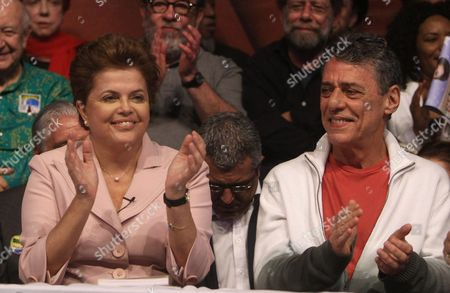 Brazilian Presidential Candidate of Party of Workers Dilma Rousseff and Singer and Composer Chico Buarque (r) Applaud During an Electoral Campaign Event in Rio De Janeiro Brazil 18 October 2010 Prior to the Second Round of Presidential Elections on 31 October 2010 Brazil Rio De Janeiro