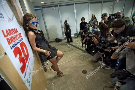 Paraguayan Model Larissa Riquelme Wears 3d Glasses While Posing After a Press Conference in Sao Paulo Brazil 08 September 2010 Riquelme Presented the New Edition of the Brazilian Playboy Magazine Which Features 3d Photographs of the Model Brazil Sao Paolo