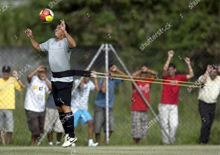 Brazilian Soccer Player Ronaldo Luis Nazario De Lima in Action During a Training Session at the Training Center of His Club Corinthians at 'Parque Ecologico' in Sao Paulo Brazil 19 March 2009 Brazil Sao Paulo