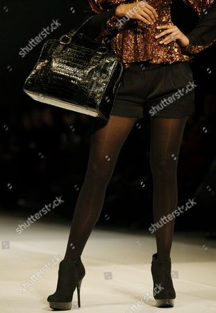 A Model Takes to the Catwalk Wearing a Creation by Designer Adriana Castro During the Bogota International Fashion Week in Bogota Colombia 15 February 2011 Colombia Bogota