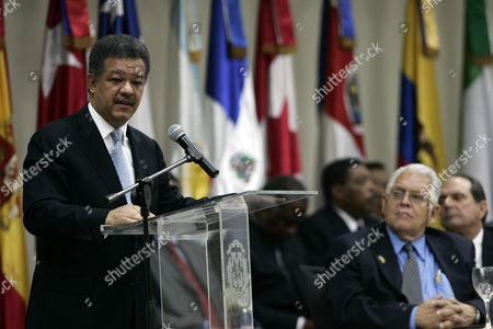 Dominican President Leonel Fernandez (l) Speaks Next to Patricio Bosch (r) Son of the Dead Leader Juan Bosch During the Inauguration Act of the Debate 'Bosch Legacy of the Humanity' in Saint Domain Dominican Republic 25 June 2009 Bosch Former Governor was a Referent of the Local Politics Dominican Republic Saint Domain