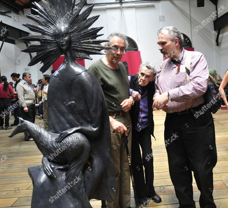 Mexican Painter Born in the United Kingdom Leonora Carrington (c) Flanked by Her Sons Pablo Weisz Carrington (l) and Gabriel Carrington (r) Observe Her Exhibition of Ten Sculptures Made Between 2008 and 2010 at the Centro Cultural Estacion Indianilla in Mexico City Mexico 9 April 2011 Mexico Mexico City