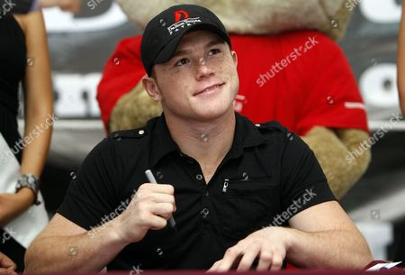 Mexican Boxer Champion of Superwelterweight of World Boxing Council (wbc) Saul Alvarez Signs Autographs During an Event in Guadalajara Mexico 14 June 2011 where He Will Defend His Title Against British Ryan Rhodes on June 18 Mexico Guadalajara