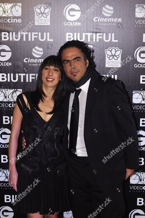 Stock Picture of Argentinean Actress Maricel Alvarez (l) and Mexican Director Alejandro Gonzalez Inarritu (r) Pose For Photographers During the Presentation of Inarritu's New Film 'Biutiful' in Mexico City Mexico 18 October 2010 Mexico Mexico City