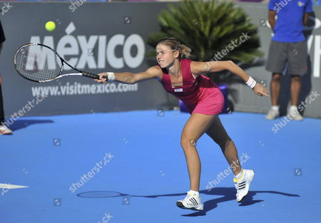 Czech Republic?s Sandra Zahlavova Returns the Ball to Hungary?s Greta Arn During Their Match of Monterrey Open in Monterrey Mexico 28 February 2011 Mexico Monterrey