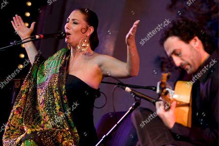 Singer Marina Heredia (l) of Granada Sings During a Concert As Part of the 'Andalucias Atlanticas' Festival in Essaouira Morocco 31 October 2008 Morocco Essaouira