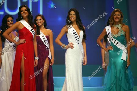 Stock Photo of A Picture Made Available 05 November 2010 Shows New Miss Puerto Rico Universe 2011 Viviana Ortiz (2r) As She Poses with Other Competitors During the National Beauty Contest at the San Juan Convention Center in San Juan Puerto Rico 04 November 2010 Viviana Ortiz 23 Years Old Imposed Herself Over Her Competitors and Satisfied the Expectations That As One of the Favorites Puerto Rico San Juan