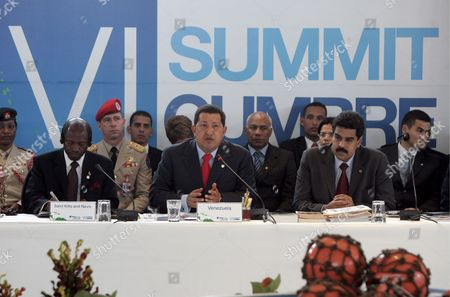 Venezuelan President Hugo Chavez (c) Talks Next to Venezuelan Chancellor Nicolßs Maduro (r) and Prime Minister of Saint Kitts and Nevis Denzil Douglas (l) During the Opening Ceremony of the 6th Summit of Petrocaribe Held in Basseterre Capital of Saint Kitts and Nevis 12 June 2009 Petrocaribe's Country Members Are Antigua and Barbuda Bahamas Belize Cuba Dominica Granada Guatemala Guyana Haiti Honduras Jamaica Nicaragua Dominican Republic Saint Kitts and Nevis Saint Vicent and the Grenadines Saint Lucia Surinam and Venezuela Saint Kitts and Nevis Basseterre