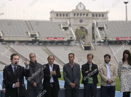 (l-r) Barcelona Mayor Jordi Hereu; Barcelona Sports Delegate Pere Alcober; 1992 Olympic 1500m Winner Fermin Cacho; Barcelona 2010 Ambassadors Jose Manuel Abascal Abel Anton; and Athlete Carlota Castrejana Are Pictured During the Presentation of the New Montjuic Olympic Stadium Track in Barcelona Northern Spain on 16 April 2010 a New Synthetic Track Considered to Be the Fastest in the World was Opened on 16 April 2010 at Lluis Companys Montjuic Stadium where the European Athletics Championships 2010 Will Be Held From 27 July to 01 August 2010 Spain Barcelona