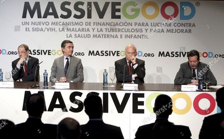 (l-r) Former Eu Foreign Policy Chief Javier Solana Former French Foreign Minister and President of the Millenium Foundation Philippe Douste-blazy Spanish Foreign Minister Miguel Angel Moratinos and the Executive Secretary of the International Health Financing Agency (unitaid) Jorge Bermudez Attend the Official Unveiling of the 'Massivegood' Campaign Celebrated in Madrid Spain 01 June 2010 'Massivegood' is a World Charity Initiative of the Milenio Foundation Aimed to Raise Funds to Reduce the Infant Mortality Improve the Mothers' Health and Fight Against Illness Like Aids Malaria and Tuberculosos by Means of Small Actions Carried out by a Lot of Persons Spain Madrid
