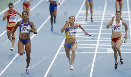 French Athlete Christine Arron (l-r) (silver) Ukrainian Yelizaveta Bryzhina (gold) and Polish Weronika Wedler (bronze) Are in Action During the Women's 4x100 Metres Relay Final at the Last Day of the European Athletics Championships Barcelona 2010 in the Olympic Stadium Lluis Companys in Barcelona North-eastern Spain 01 August 2010 Spain Barcelona