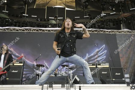 Lead Vocalist Joacim Cans of Swedish Metal Band Hammerfall Performs During a Concert on the Ocassion of Sonisphere Festival in Getafe Near Madrid Central Spain 16 July 2011 the Festival Runs From 15 Until 16 July 2011 Spain Madrid