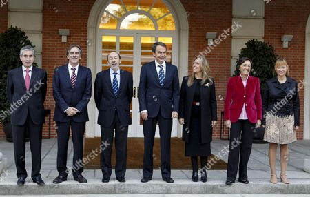 (l-r) Minister of the Presidency Ramon Jauregui Minister of Employment Valeriano Gomez Minister of Interior and Government Speaker Alfredo Perez Rubalcaba Spanish Prime Minister Jose Luis Rodriguez Zapatero Minister of Exterior Trinidad Jimenez Minister of Environment Rosa Aguilar and Minister of Health Equality and Social Politics Leire Pajin Pose For the Family Picture Before the Start of the Cabinet Meeting at the Moncloa Presidential Residence in Madrid Spain 22 October 21010 Spain Madrid