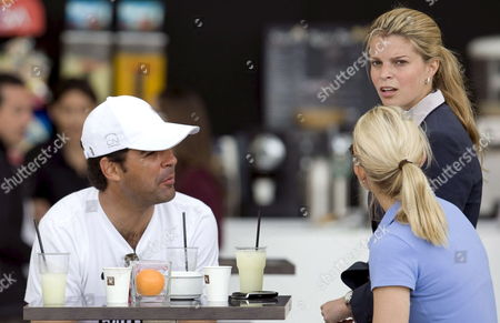 Greek Rider Cristina Onassis (r Up) Talks to His Husband Brazilian Rider Alvaro Alfonso 'Doda' De Miranda (l) and an Unidentified Woman During the First Day of the Spain Gp Horse Trials in Valencia Spain 08 May 2009 the Spain Gp Horse Trials Running From 08 May Until 10 May 2009 As Part Ot the Global Champions Tour Spain Valencia