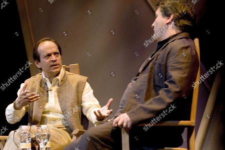 British Writer of Indian Origin Vikram Seth (l) Speaks with the Director of Hay Festival Granada Peter Florence at the Isabel La Catolica Theatre in Granada Spain 08 May 2009 the Activities of the Hay Festival Will Be Held in Different Locations Near to and Within the Alhambra Palace Until 10 May Spain Granada