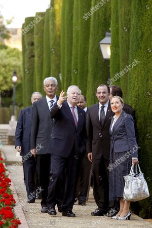 Spanish Foreign Affairs Minister Miguel Angel Moratinos (c-l) Talks with European Commisioner For External Relations Austrian Benita Ferrero-waldner (r) and Foreign Affairs Minister From Morocco Taib Fassi Fihri (2-r) and Libya Musa Kusa (l) During Their Visit to Cordoba's Christian Kings Alcazar (fortress) Andalusia Southern Spain 20 April 2009 Foreign Affairs Ministers Are in Cordoba to Attend the 7th Conference of Western Mediterranean 'Dialogue 5+5' to Debate Cooperation Projects Between European Union (eu) and Magreb Countries Spain Cordoba