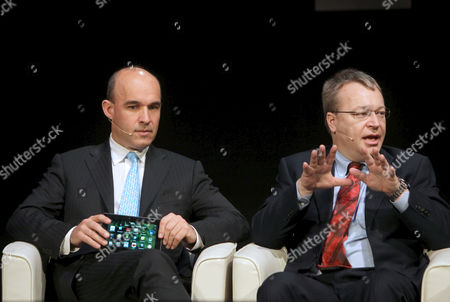 Jim Balsillie (l) Managing Director of Canadian Company Research in Motion (rim) Manufacturer of Device Blackberry and Nokia's President Stephen Elop (r) Deliver a Speech During the 2011 Mobile World Congress Held in Barcelona Northeastern Spain on 16 February 2011 the 2011 Mobile World Congress Will Be Held 14-17 February Around 50 000 Senior Mobile Leaders From 200 Countries Participate in This Edition of Mobile World Congress Spain Barcelona