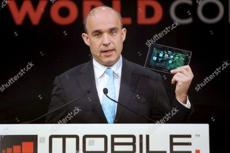 Stock Image of Jim Balsillie Managing Director of Canadian Company Research in Motion (rim) Manufacturer of Device Blackberry Delivers a Speech During the 2011 Mobile World Congress Held in Barcelona Northeastern Spain on 16 February 2011 the 2011 Mobile World Congress Will Be Held 14-17 February Around 50 000 Senior Mobile Leaders From 200 Countries Participate in This Edition Spain Barcelona