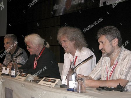 Stock Image of Leader of the Tangerine Dream Band Edgar Froese (2-l) Queen Guitarist and Astrophysicist Brian May (2-r) Adeje's Mayor Jose Miguel Rodriguez Fraga (l) and Astrophysicist Garik Israelian (r) Hold a Press Conference to Present the Tangerine Dream's Closing Concert For the Starmus Festival with Brian May L As Special Guest to Pay Tribute to the Cosmonaut Yuri Gagarin in Tenerife Canary Islands Spain 22 June 2011 Spain Tenerife