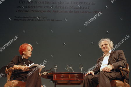Lebanese Writer Amin Maalouf (r) and Spanish Journalist Rosa Maria Calaf (l) Onstage During a Meeting with Fans at the Jovellanos Theatre in Gijon Asturias Spain 20 October 2010 Maalouf Will Be Presented the 2010 Prince of Asturias Award For Letters During a Ceremony in Oviedo on 22 October Spain Oviedo