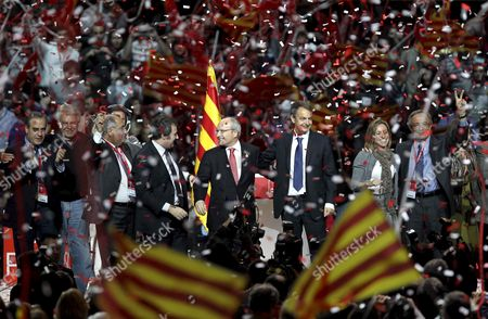 Spanish Prime Minister Jose Luis Rodriguez Zapatero (3rd R) the President of the Catalunya Generalitat Regional Government and the Leader of the Socialist Party of Catalunya Jose Montilla (c) Defense Minister Carmen Chacon (2nd R); Former Prime Minister Felipe Gonzalez (2nd L) Labour Minister Celestino Corbacho (l) and the Mayor of Barcelona Jordi Hereu During the Main Closing Political Speech For the Regional Elections in Catalunya at the Palau Sant Jordi in Barcelona Northeastern Spain 26 November 2010 Catalan Regional Polls Will Be Held on 28 November 2010 Spain Barcelona
