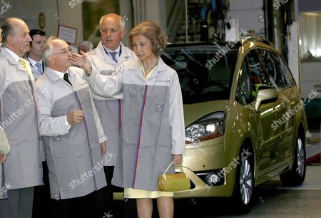 Stock Photo of Spanish Royal Couple King Juan Carlos (l) and Queen Sofia (r) Visits Psa Peugeot Citroen Plant with the President of Vigilance Council Thierry Peugeot (c-l) and the Director of the Plan Pierre Gianni (c-r) to Commemorate Its 50 Anniversary in Vigo Spain 15 July 2008 Spain Vigo