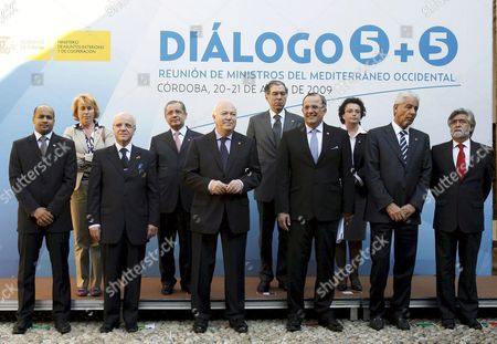 Stock Picture of Italian Secretary of State Stefania Craxi Tunisian Foreign Minister Abdelwaheb Abdellah French Secretary of State Pierre Sellal Malta Secretary of State Cecilia Attard Mauritania Foreign Minister Mohamed Ould Mohamedou Algeria Foreign Minister Mourat Medeldri Spanish Foreign Minister Miguel Angel Moratinos Morocco Foreign Minister Taib Fassi Fihri Libyan Foreign Minister Musa Kusa and Portuguese Foreign Minister Luis Amado (l-r From Back to Front) Pose For a Family Photo During the 7th West Mediterranean Foreign Ministers Summit (5+5 Meeting) in Cordoba Southern Spain 21 April 2009 Spain Cordoba