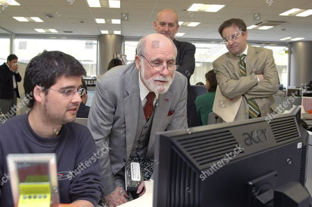 Vice President of Google Us Computer Scientist Vinton Cerf (c) who was Awarded with the 2002 Prince of Asturias Award on Research During His Visit to the Foundation of the Oscar Niemeyer International Cultural Center (ctic) in Gijon Northern Spain on 27 April 2009 Spain Gijon